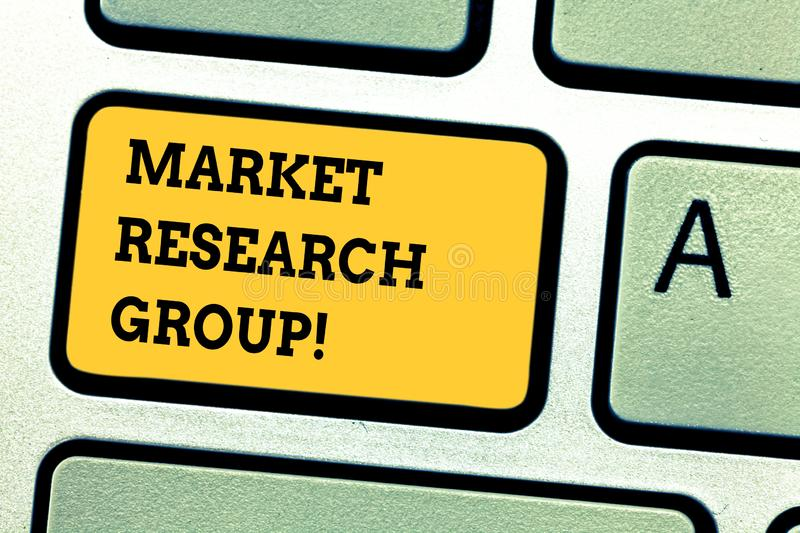 Word writing text Market Research Group. Business concept for gather information about target markets or customers. Keyboard key Intention to create computer royalty free stock photos