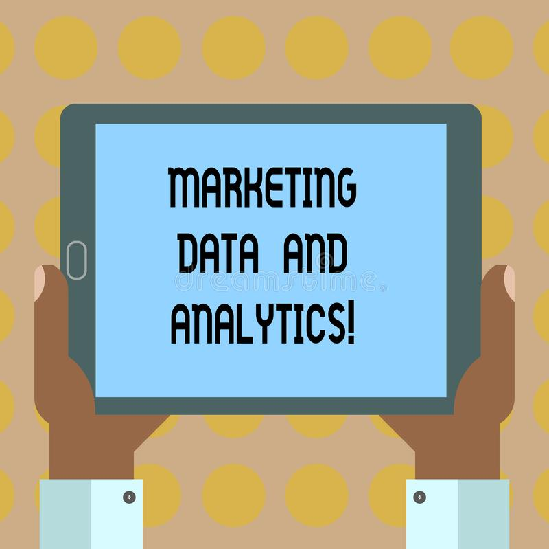 Word writing text Marketing Data And Analytics. Business concept for Advertising promotion statistical analysis Hu analysis Hand stock illustration