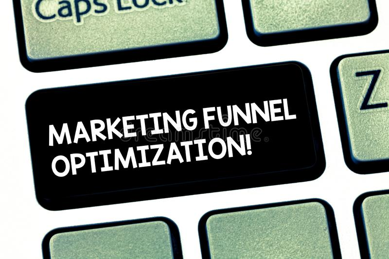 Word writing text Marketing Funnel Optimization. Business concept for Improving the customer acquisition campaign. Keyboard key Intention to create computer stock illustration