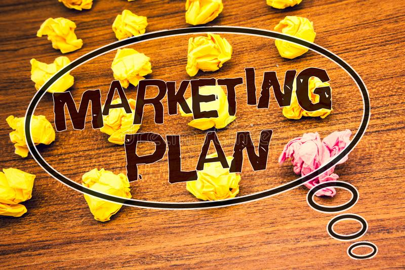 Word writing text Marketing Plan. Business concept for Business Advertising Strategies Market Successful Ideas Text wood desk crum stock photography