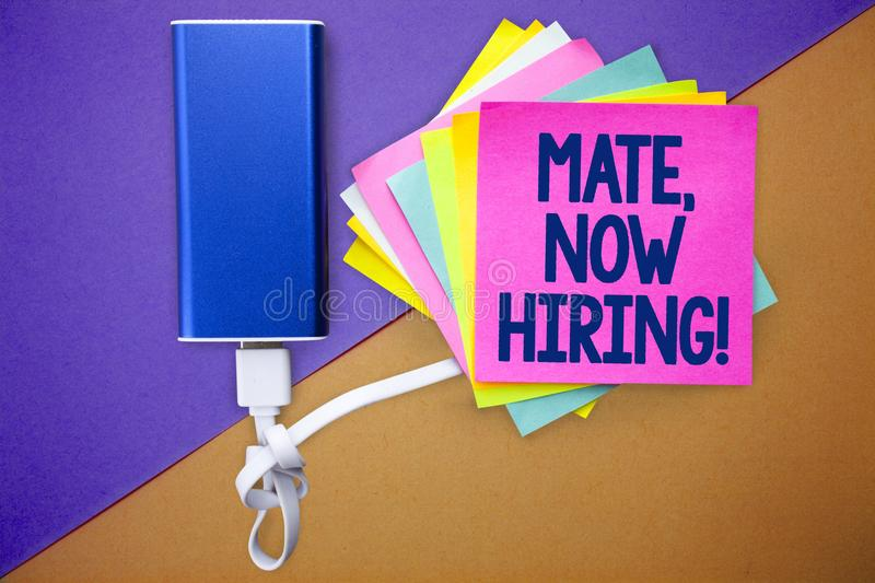 Word writing text Mate, Now Hiring Motivational Call. Business concept for Workforce Wanted Employees Recruitment Multiple colour. Sticky remember cards data stock images
