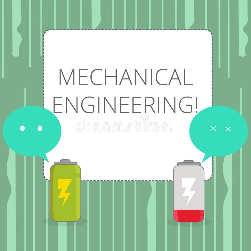 Word writing text Mechanical Engineering. Business concept for Concerned with industrial application of mechanics Fully. Word writing text Mechanical Engineering stock illustration