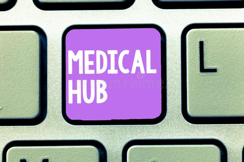 Word writing text Medical Hub. Business concept for Common connection point for medical devices in a network.  royalty free stock photos