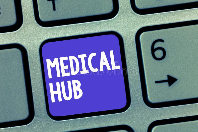 Word writing text Medical Hub. Business concept for Common connection point for medical devices in a network.  royalty free stock image