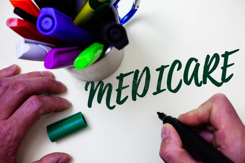 Word writing text Medicare. Business concept for Federal health insurance for people above 65 or with disabilities Artist study li stock images