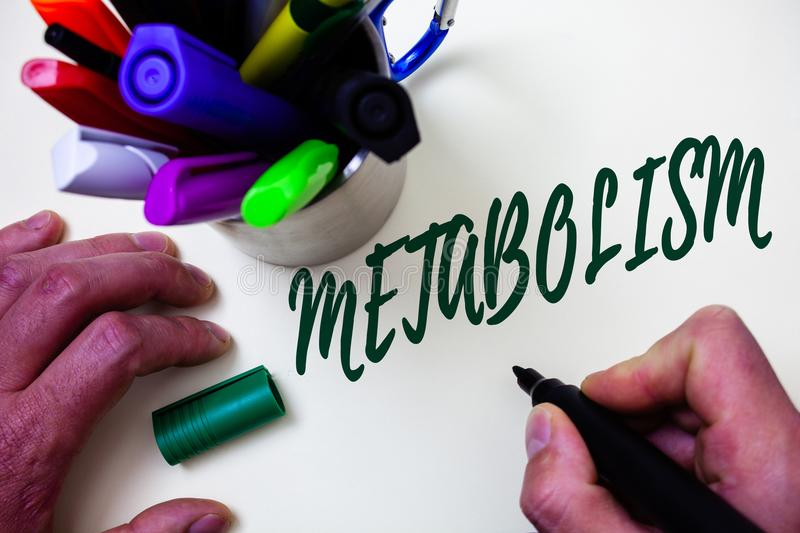 Word writing text Metabolism. Business concept for Chemical processes in body to produce energy food processing Artist study libra. Ry colourful pen bunch stock image