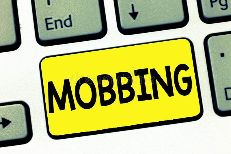 Word writing text Mobbing. Business concept for Bulling of individual specially at work Emotional abuse Stress stock images