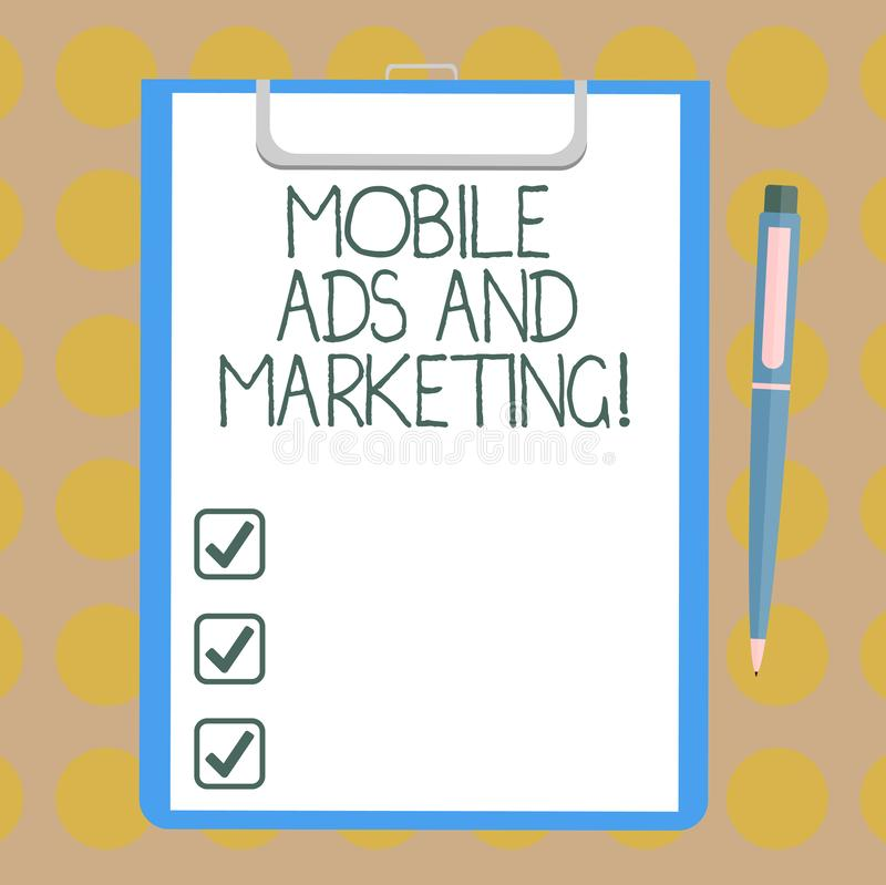 Word writing text Mobile Ads And Marketing. Business concept for Online advertising social media digital promotions royalty free illustration