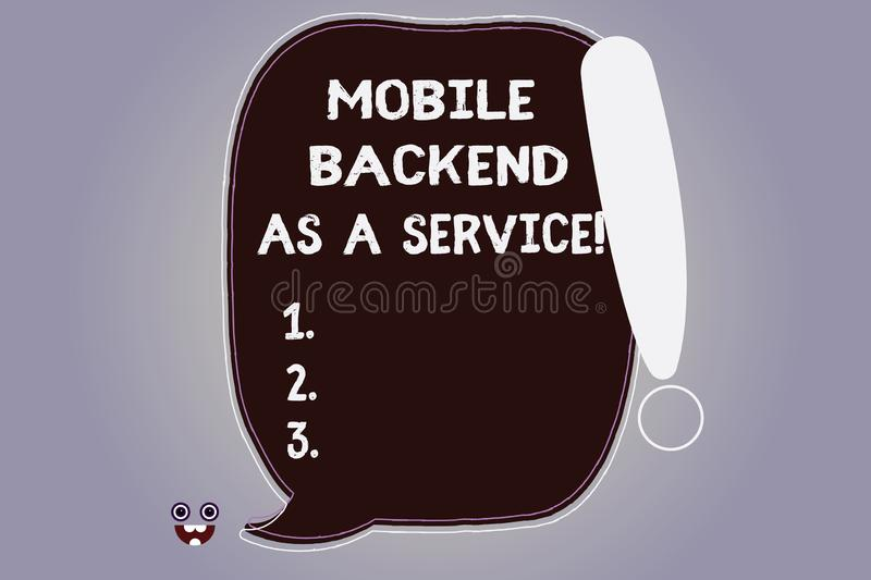 Word writing text Mobile Backend As A Service. Business concept for Mbaas Link web and mobile apps to cloud storage Blank Color. Speech Bubble Outlined with royalty free illustration