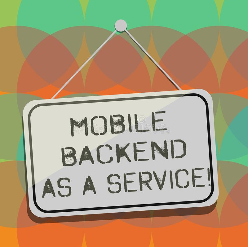 Word writing text Mobile Backend As A Service. Business concept for Mbaas Link web and mobile apps to cloud storage. Blank Hanging Color Door Window Signage royalty free illustration