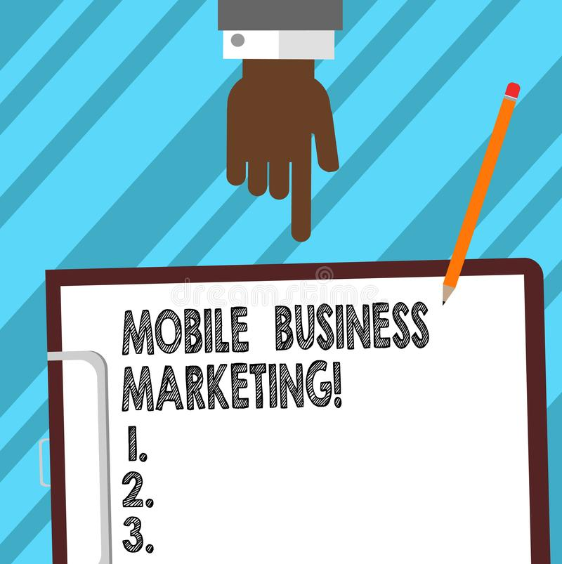 Word writing text Mobile Business Marketing. Business concept for Reaching consumers through mobile phones Hu analysis Hand. Pointing Down to Clipboard with royalty free stock photography