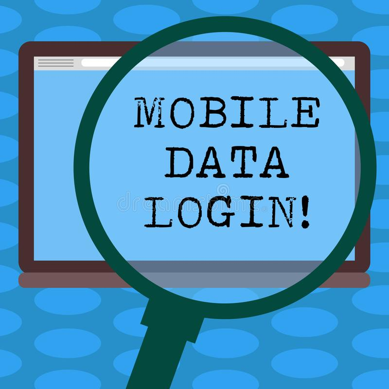 Word writing text Mobile Data Login. Business concept for allows smartphone users to access internet without WiFi vector illustration