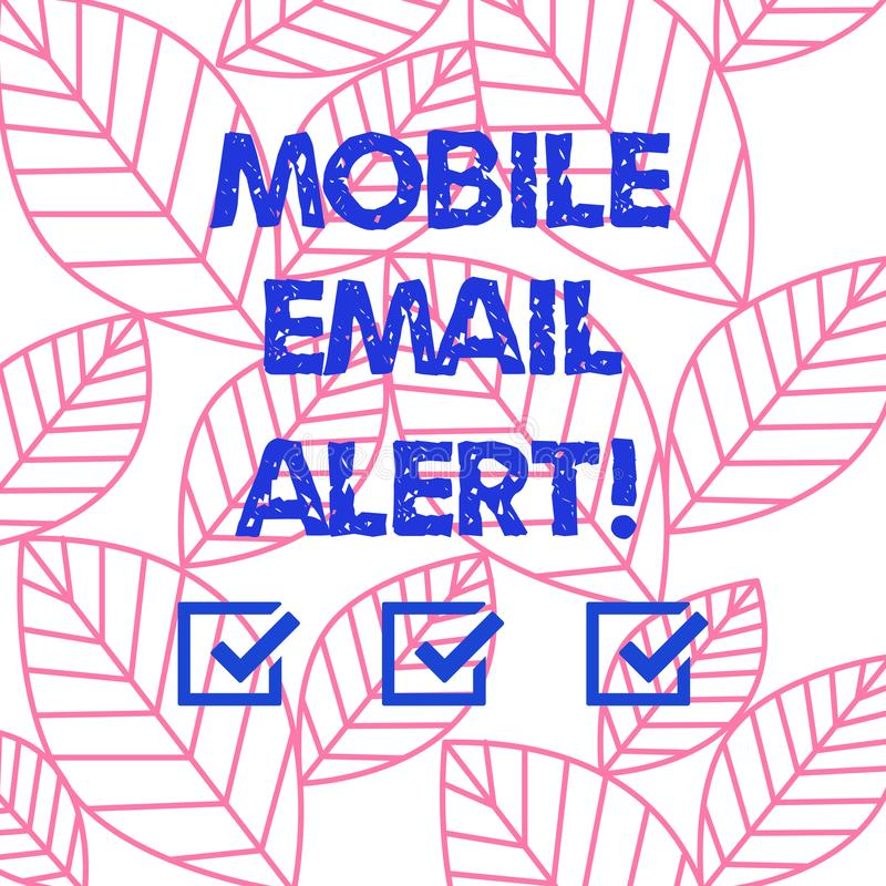 Word writing text Mobile Email Alert. Business concept for machine to demonstrating communication that is time sensitive. Collection of Leaves Outline Isolated vector illustration