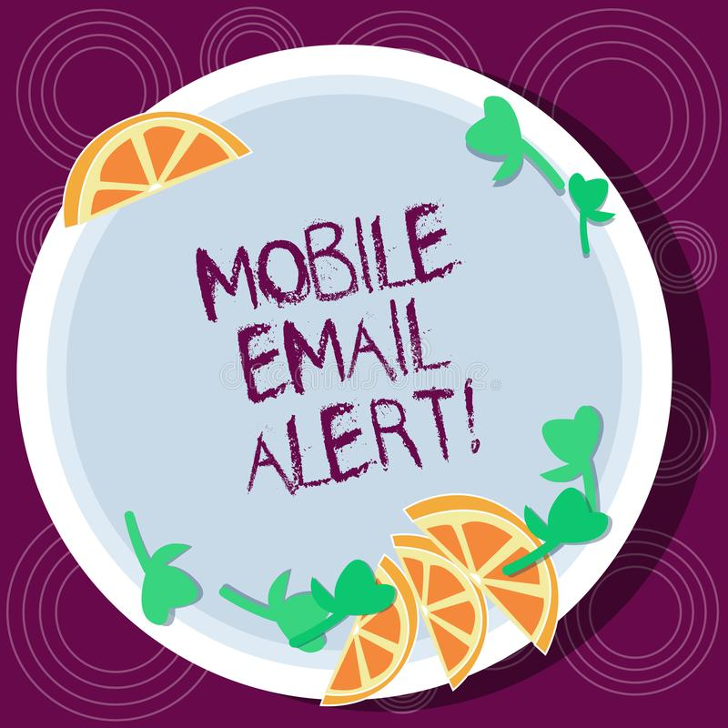 Word writing text Mobile Email Alert. Business concept for machine to demonstrating communication that is time sensitive Cutouts. Of Sliced Lime Wedge and Herb stock illustration