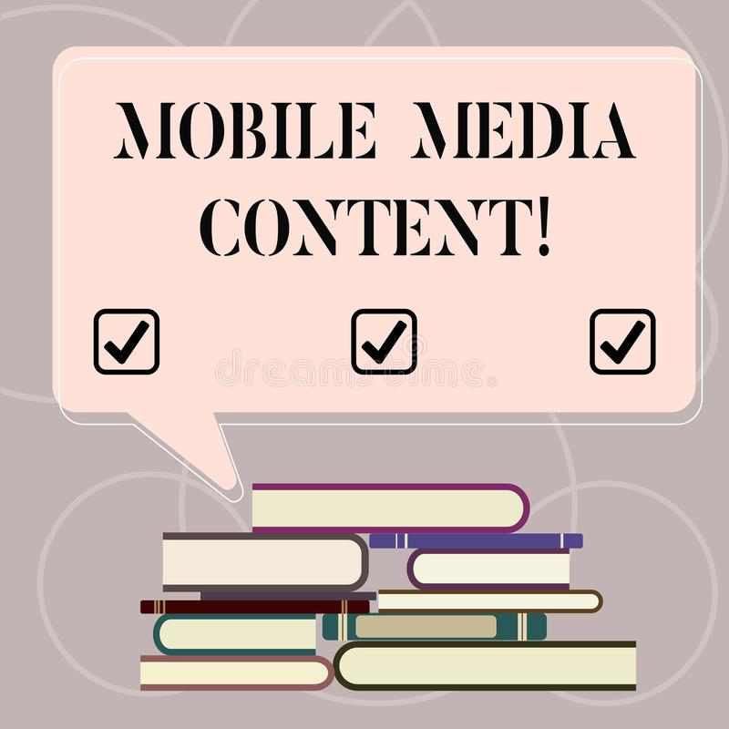 Word writing text Mobile Media Content. Business concept for electronic media which is viewed on mobile phones Uneven. Pile of Hardbound Books and Blank vector illustration