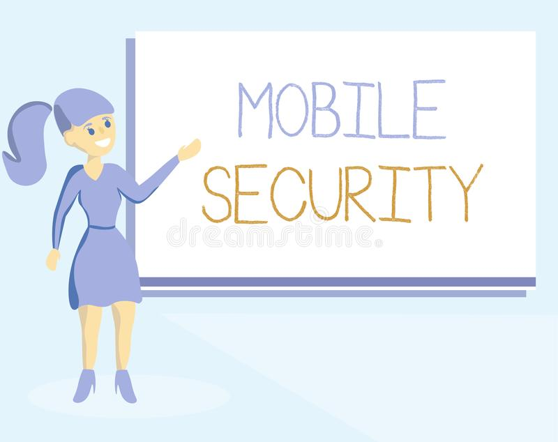 Word writing text Mobile Security. Business concept for Protection of mobile phone from threats and vulnerabilities.  vector illustration