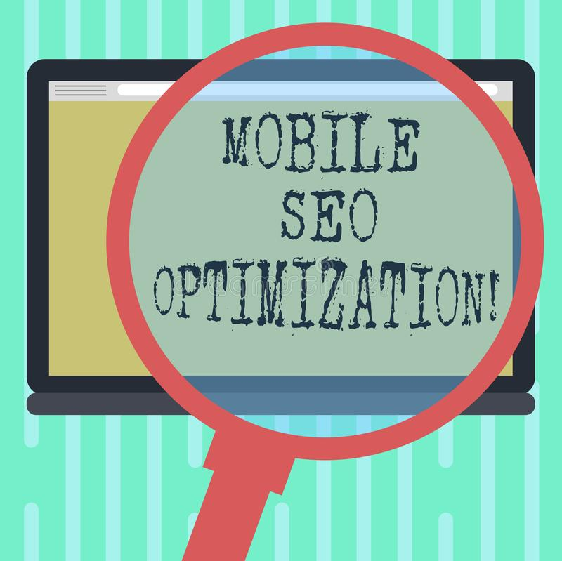 Word writing text Mobile Seo Optimization. Business concept for enables a website to rank for mobile searches Magnifying Glass. Enlarging Tablet Blank Color vector illustration