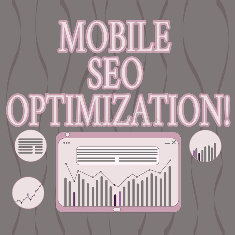 Word writing text Mobile Seo Optimization. Business concept for enables a website to rank for mobile searches Digital Combination. Of Column Line Data Graphic vector illustration