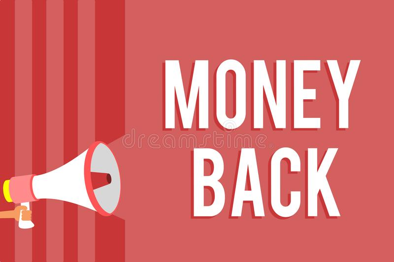 Word writing text Money Back. Business concept for get what you paid in return for defect or problem in product Megaphone loudspea. Ker red stripes important vector illustration
