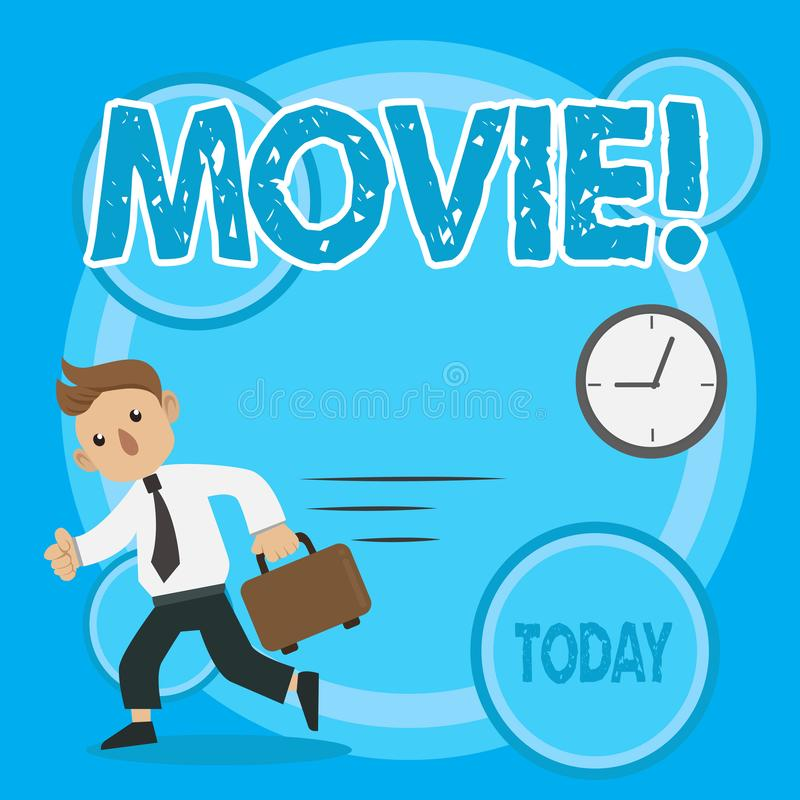 Word writing text Movie. Business concept for Cinema or television film Motion picture Video displayed on screen Man in. Word writing text Movie. Business photo stock illustration