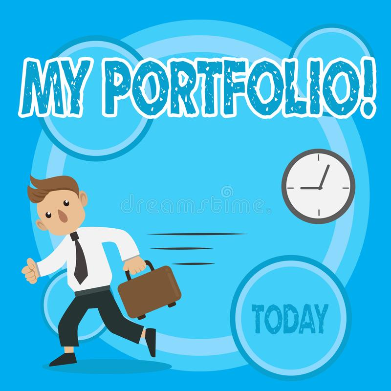 Word writing text My Portfolio. Business concept for Samples of work Art drawings photography Man in Tie Carrying. Word writing text My Portfolio. Business photo vector illustration