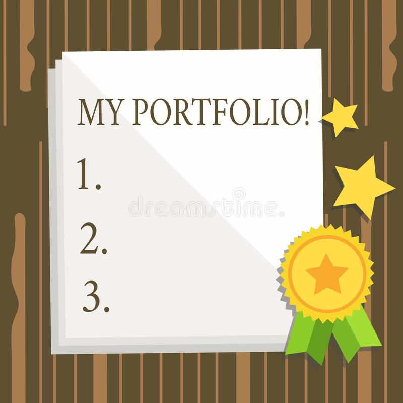 Word writing text My Portfolio. Business concept for Samples of work Art drawings photography White Blank Sheet of. Word writing text My Portfolio. Business royalty free illustration