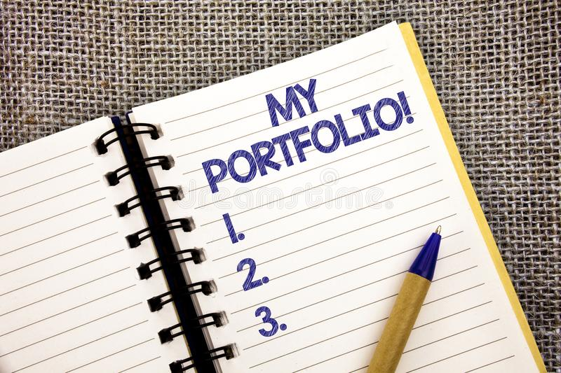 Word writing text My Portfolio Motivational Call. Business concept for Samples of work Art drawings photography Ball point pen wor. K spring diary chronicle stock images