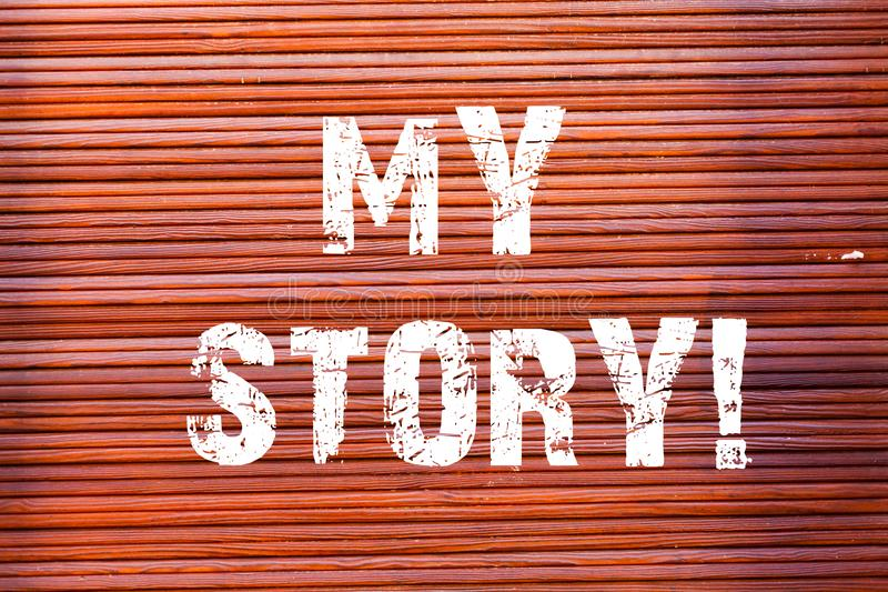Word writing text My Story. Business concept for your past life events actions or choices you made Brick Wall art like. Word writing text My Story. Business stock photos