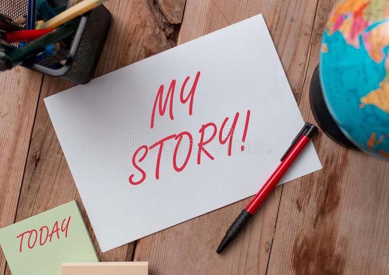 Word writing text My Story. Business concept for your past life events actions or choices you made Writing equipments. Word writing text My Story. Business photo royalty free stock photography