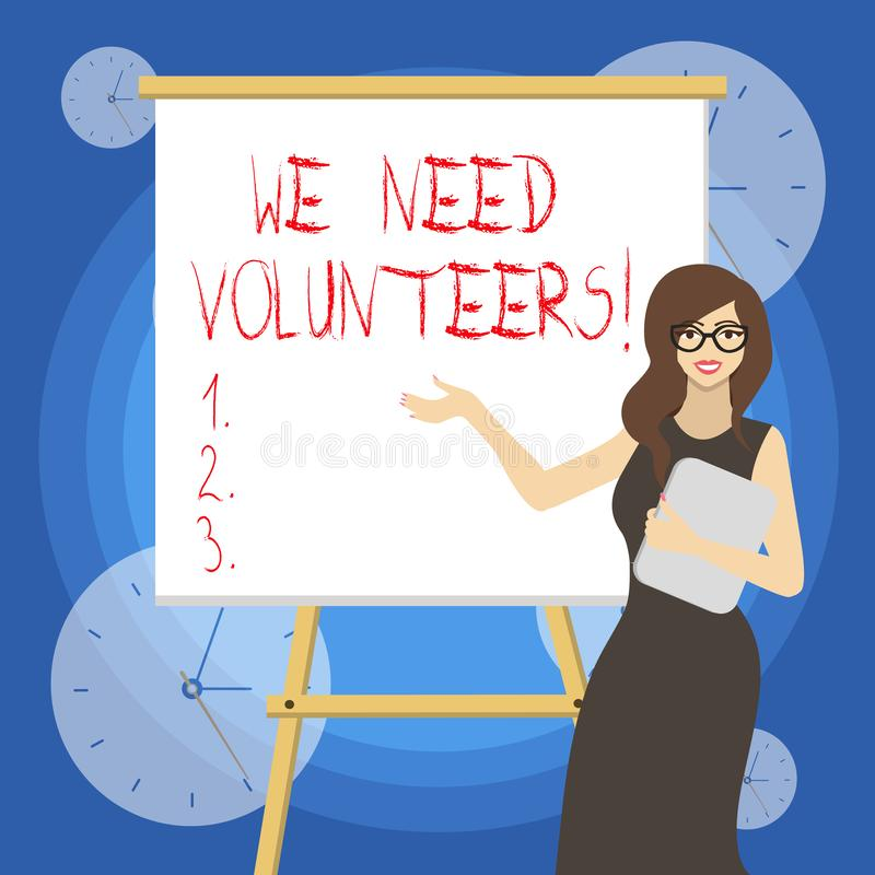 Word writing text We Need Volunteers. Business concept for someone who does work without being paid for it. Word writing text We Need Volunteers. Business photo vector illustration