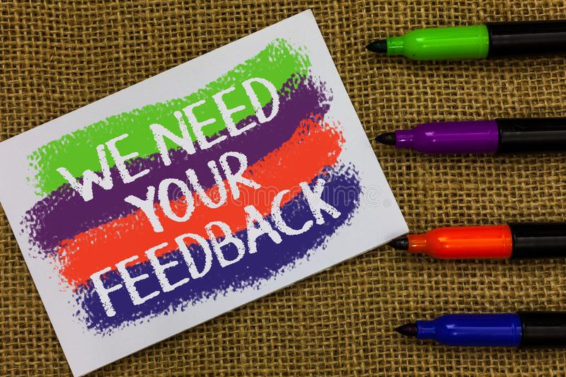 Word writing text We Need Your Feedback. Business concept for Give us your review thoughts comments what to improve Colorful waves. With white page and texts royalty free stock photo