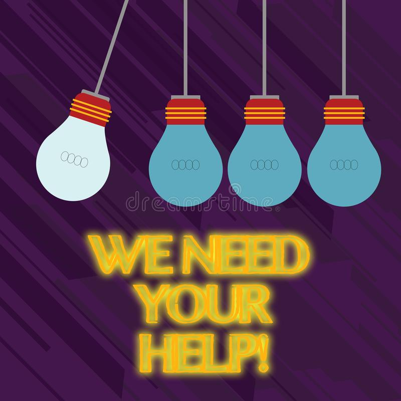 Word writing text We Need Your Help. Business concept for asking someone to stand with you against difficulty Color. Word writing text We Need Your Help stock illustration