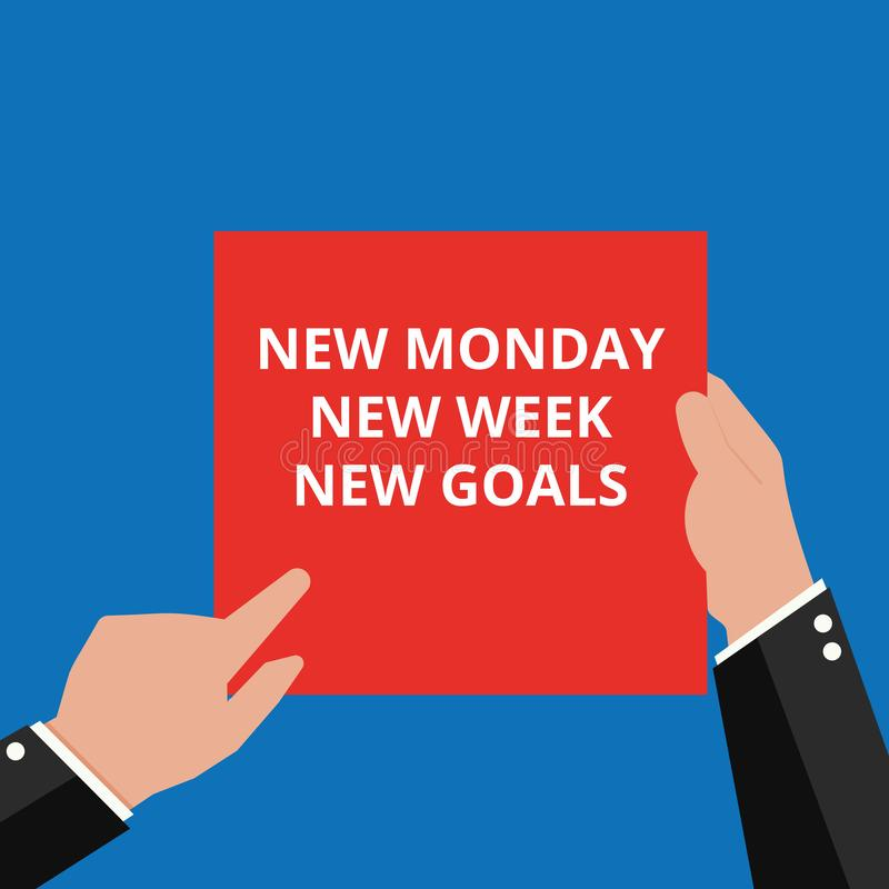 Word writing text New Monday New Week New Goals vector illustration