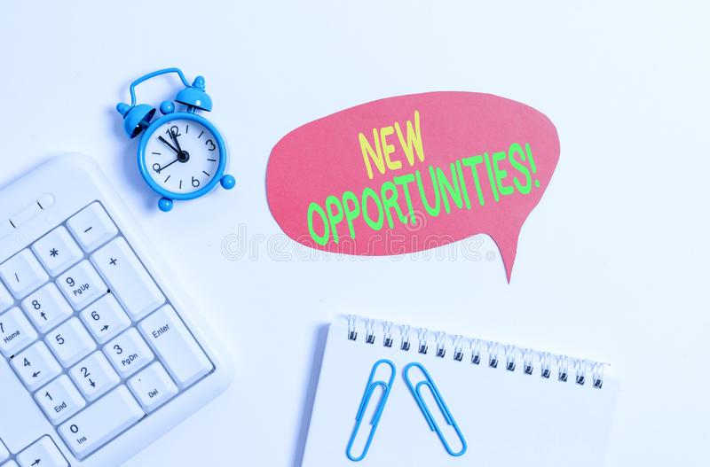 Word writing text New Opportunities. Business concept for exchange views condition favorable for attainment goal Blank. Word writing text New Opportunities royalty free stock images