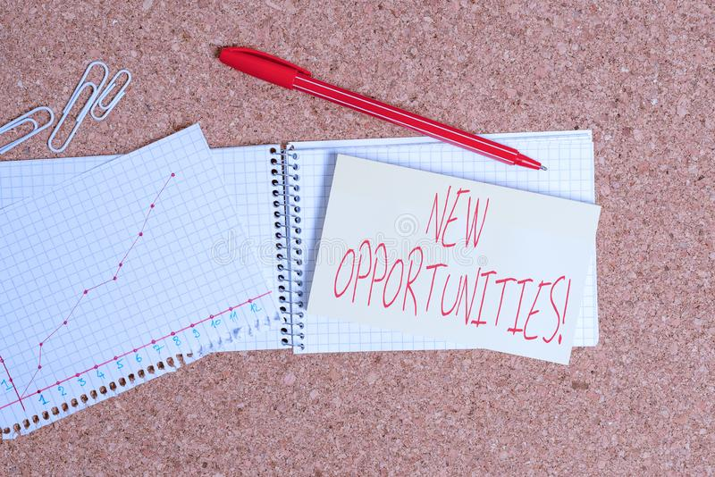 Word writing text New Opportunities. Business concept for exchange views condition favorable for attainment goal Desk. Word writing text New Opportunities royalty free stock image