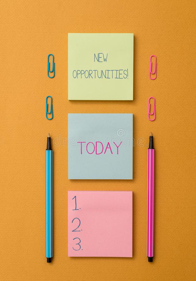 Word writing text New Opportunities. Business concept for exchange views condition favorable for attainment goal Front. Word writing text New Opportunities stock photo