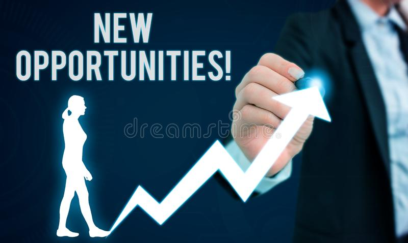 Word writing text New Opportunities. Business concept for exchange views condition favorable for attainment goal Female. Word writing text New Opportunities royalty free stock photo