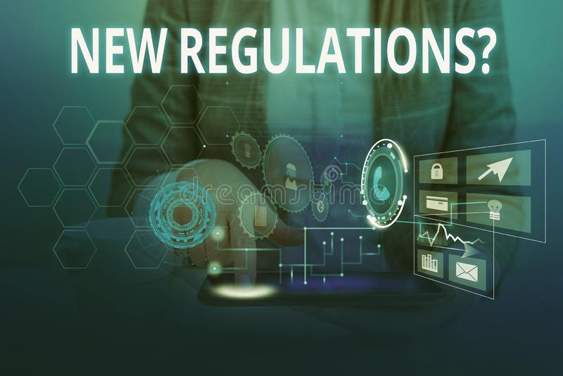 Word writing text New Regulations Question. Business concept for rules made government order control way something is. Word writing text New Regulations Question stock images