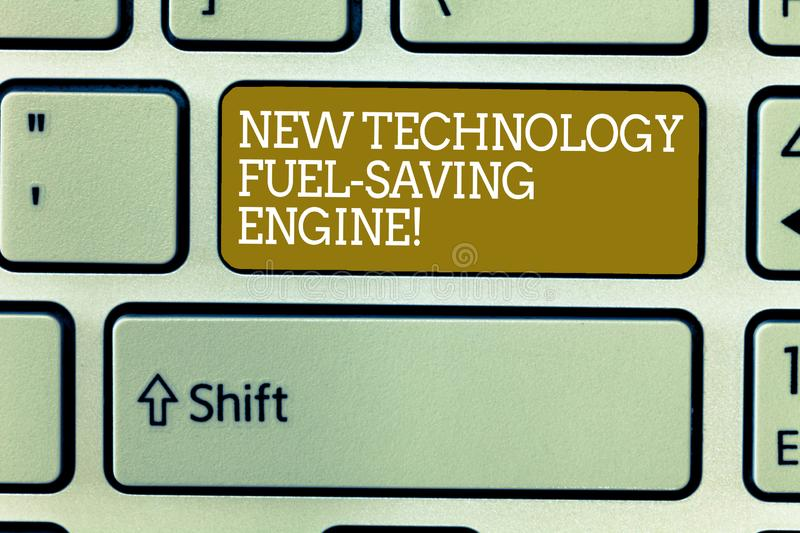 Word writing text New Technology Fuel Saving Engine. Business concept for Modern technologies for automobiles Keyboard royalty free stock photography