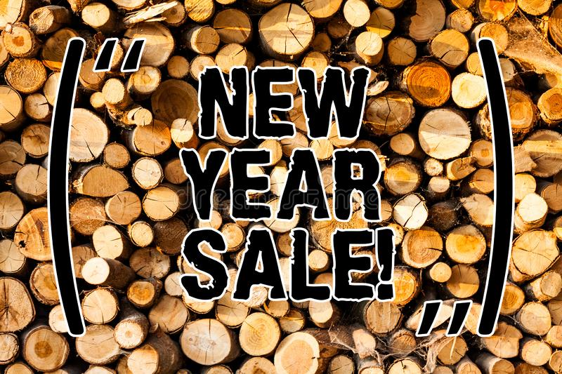 Word writing text New Year Sale. Business concept for Final holiday season discounts price reductions Offers Wooden. Background vintage wood wild message ideas royalty free stock photography