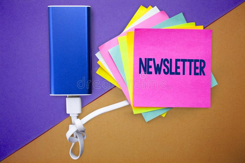 Word writing text Newsletter. Business concept for Bulletin periodically sent to subscribed members News report Multiple colour st. Icky remember cards data stock photo