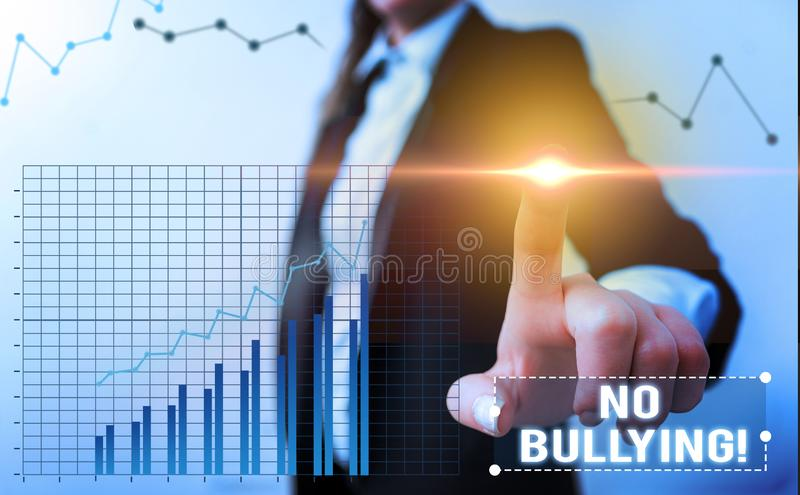 Word writing text No Bullying. Business concept for stop aggressive behavior among children power imbalance. Word writing text No Bullying. Business photo royalty free stock photography