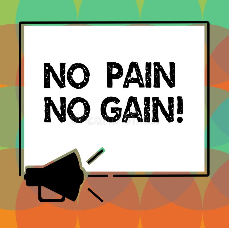 No Pain No Gain Word With Megaphone Sound Icon Stock