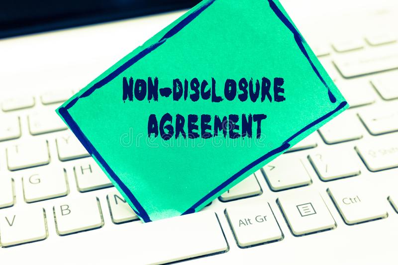 Word writing text Non Disclosure Agreement. Business concept for Legal Contract Confidential Material or Information royalty free stock image