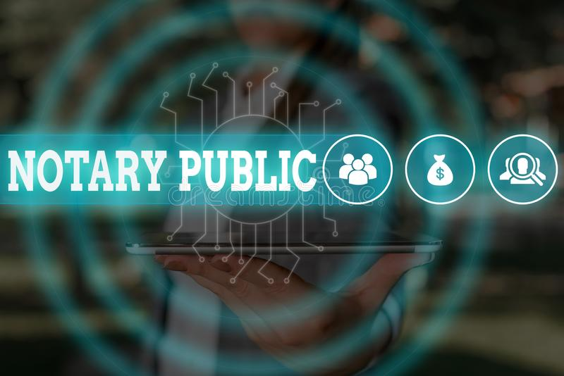 Word writing text Notary Public. Business concept for Legality Documentation Authorization Certification Contract Woman. Word writing text Notary Public royalty free stock images