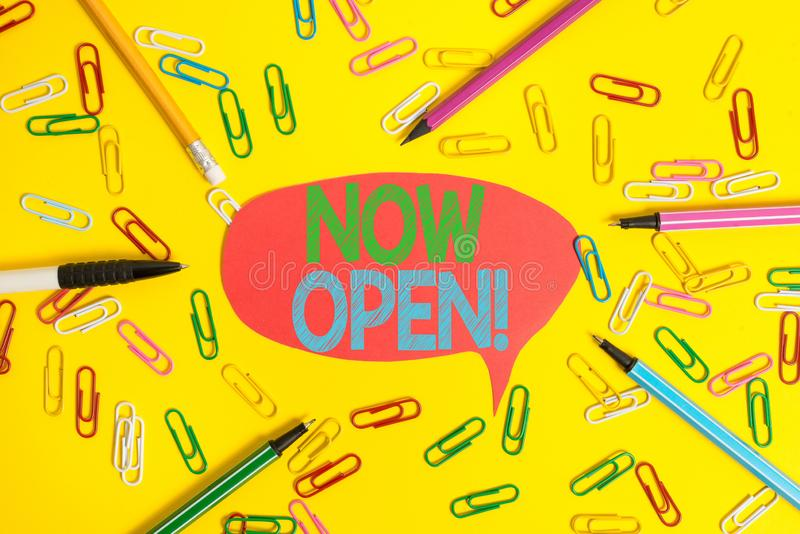 Word writing text Now Open. Business concept for leave door or windows not closed or barred at this current time Flat. Word writing text Now Open. Business photo royalty free stock photo