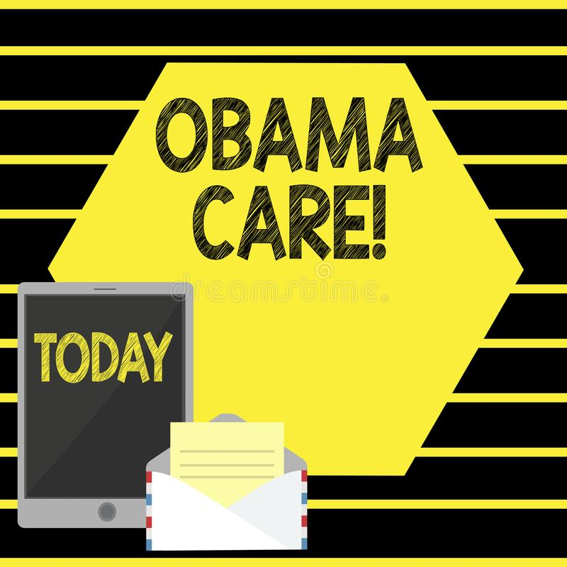 Word writing text Obama Care. Business concept for Government Program of Insurance System Patient Protection. Word writing text Obama Care. Business photo royalty free illustration