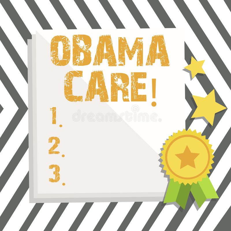 Word writing text Obama Care. Business concept for Government Program of Insurance System Patient Protection. Word writing text Obama Care. Business photo stock illustration