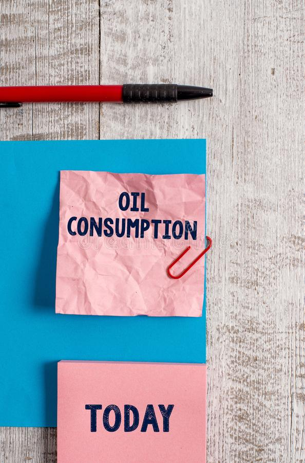 Word writing text Oil Consumption. Business concept for This entry is the total oil consumed in barrels per day Wrinkle. Word writing text Oil Consumption stock photography