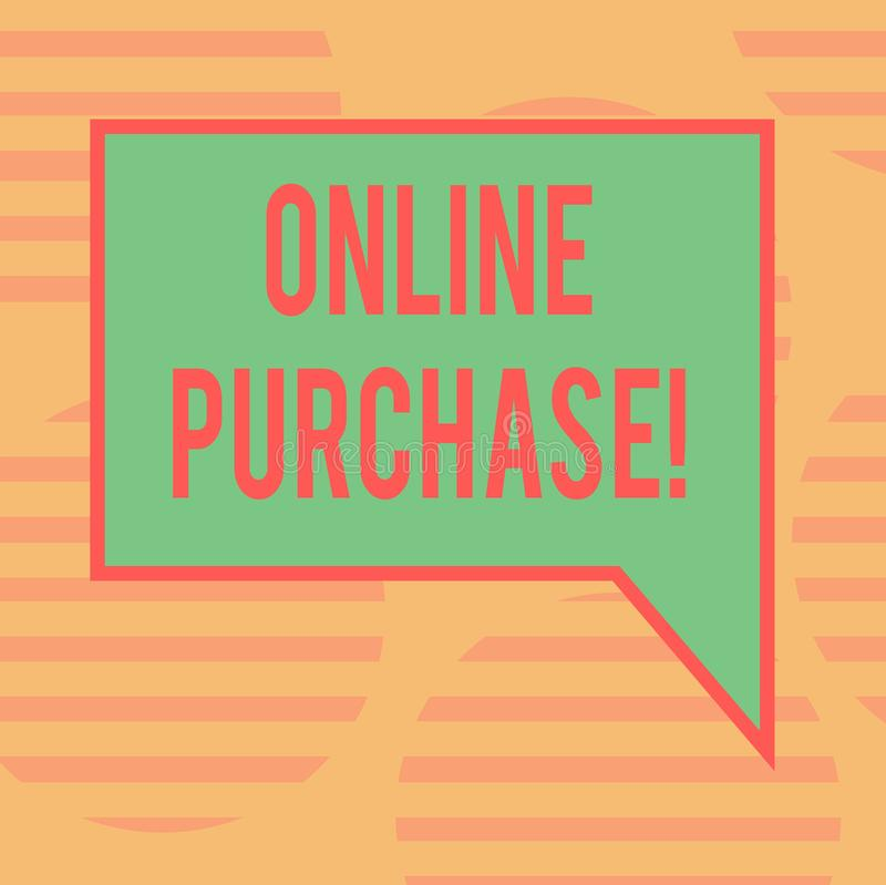 Word writing text Online Purchase. Business concept for Buy things on the net Go shopping without leaving home Blank Rectangular. Color Speech Bubble with royalty free stock image
